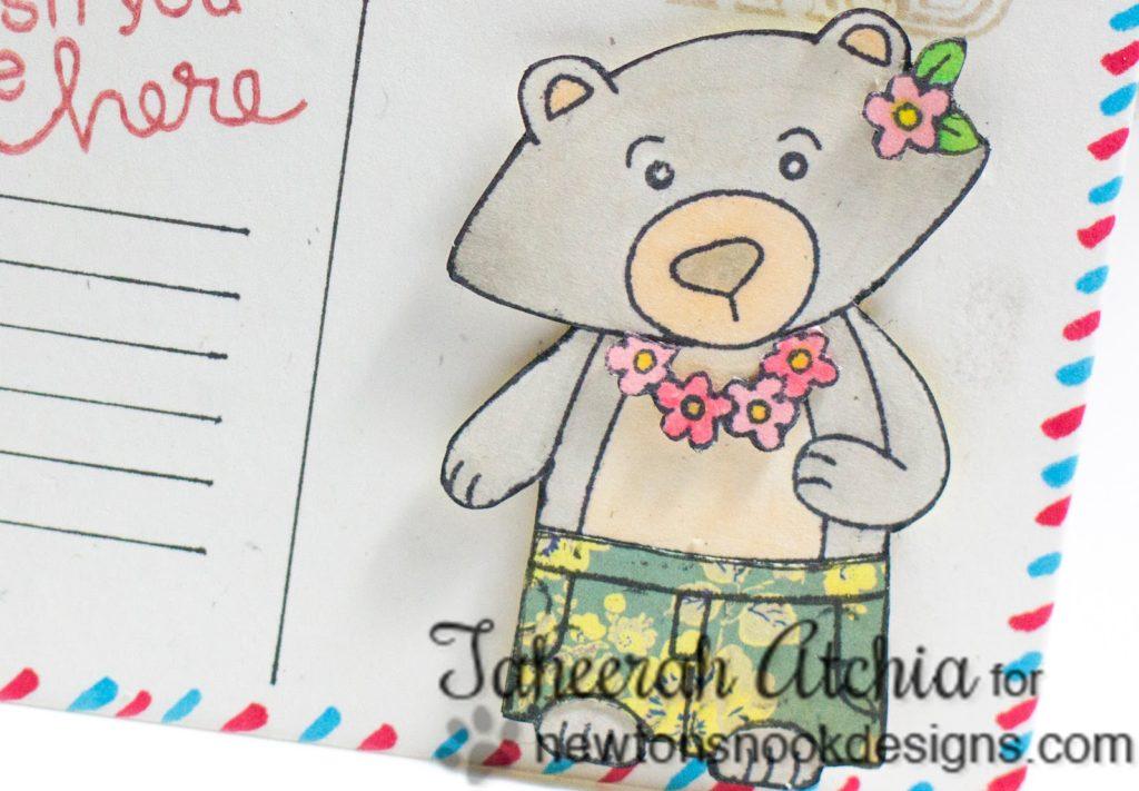 Wish You Were Here Bear Postcard Card by Taheerah Atchia