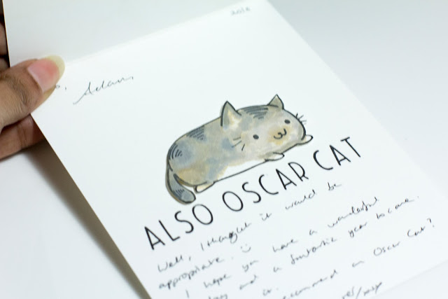 Inside of Fun cute Cat Birthday card - Also Oscar Cat sentiment - by Taheerah Atchia